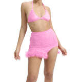 Two Piece Set Women Crop Top Camis And Skirts Orange Sexy Mesh Fluffy Backless Split Skirt Summer Suits Beachwear Ropa Mujer
