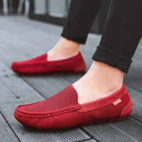 UNN Fashion Sneakers Shoes Men Loafers Boat Flats Breathable Flyknit Luxury Brand 2019 Driving Moccasins Shoes Red