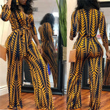 VAZN Autumn Top Quality New Sexy Design 2018 Style Women Retro Print Jumpsuits Deep V-Neck Full Sleeve Romper OMY5039