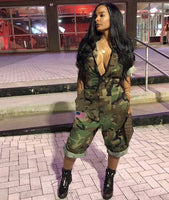 VAZN Hot Sale Women 2018 Casual Design Camouflage Women Calf-Length Jumpsuits Short Sleeve Pockets Zipper Cool Thick Romper Y074