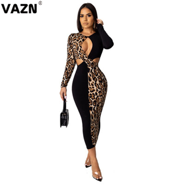 New Hollow out Leopard Print  Women's Sexy Long sleeves Midi Dress Autumn and winter