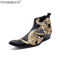 VIVODSICCO Fashion Luxury Men Boots Genuine Leather Ankle Boots for Men Italian Business Dress Shoes Slip-On Cowboy Boot