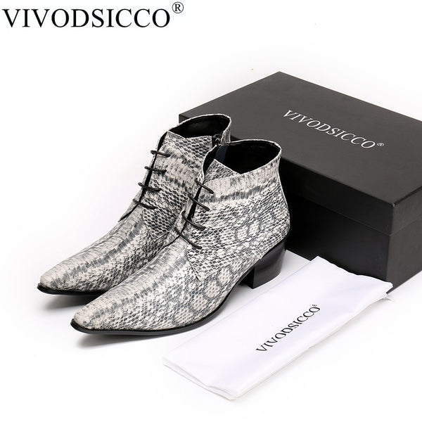 VIVODSICCO Luxury British Style Lace-Up Men Ankle Boots Genuine Leather Motorcycle Cowboy Boots Men Snake Skin Boots Dress Shoes