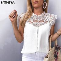 VONDA 2019 Sexy Party Women Blouse Sleeveless Lace Shirt OL Office Ladies Shirt Hollow Out Tops Camisas White Blouse Plus Size