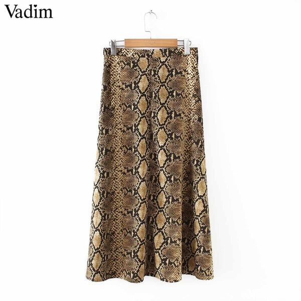 Vadim women elegant snake print midi skirt faldas mujer side zipper design female casual streetwear chic skirts BA157