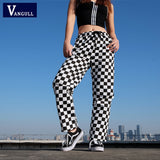Vangull Plaid Pants Womens High Waist Checkered Straight Loose Sweat Pants Casual Fashion Trousers Pantalon Femme Sweatpants