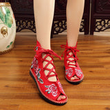 High Top Women's Canvas Flat Sandals Open Peep Toe Summer Embroidered Lace Up Shoes