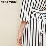 Vero Moda striped wooden ear trim cropped wide-leg pants women|318250513