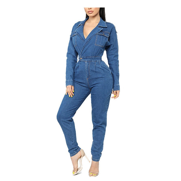 Vintage Blue Jeans Jumpsuit Turn Down Collar Long Sleeve Denim Rompers Women Casual Bodysuits Overalls