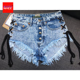 Vintage Snowflake Inelastic Women Denim Shorts With high Waist Straps Tassel Female Summer Shorts For Women's jeans