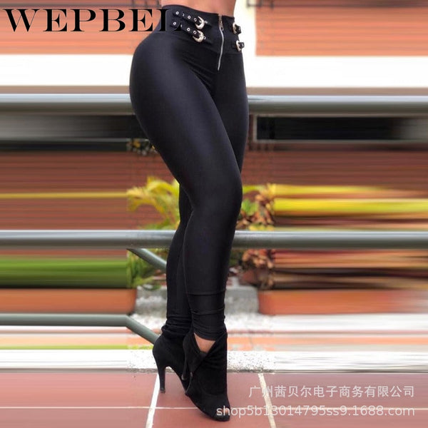 Fashion Solid Color Pants Trousers for Women's Sexy High Waist Buckled Pencil Pants