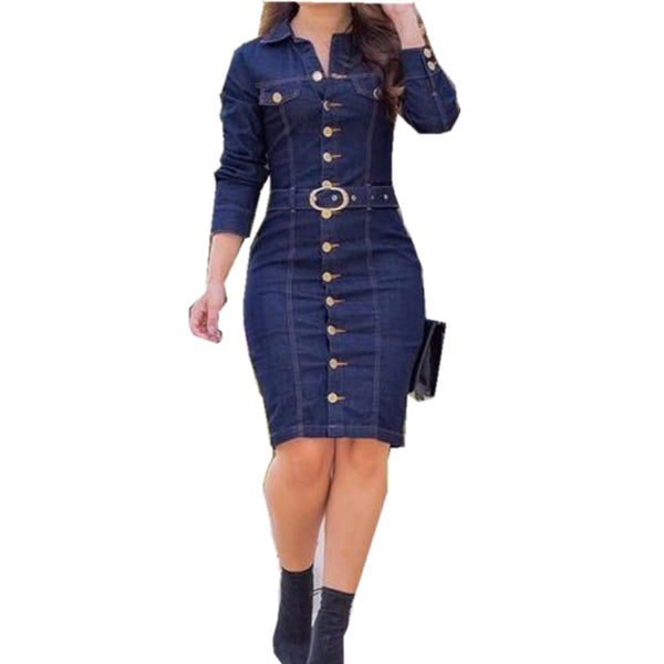Women's Long sleeves Denim Dress with Button Decoration for Summer and Spring