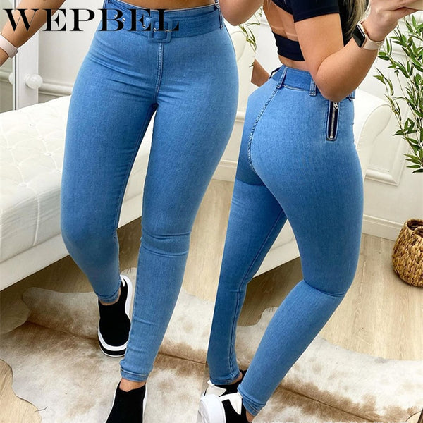 Women's Jeans High Waist Stretchy Denim Pants Trousers Blue Black and Plaid Color