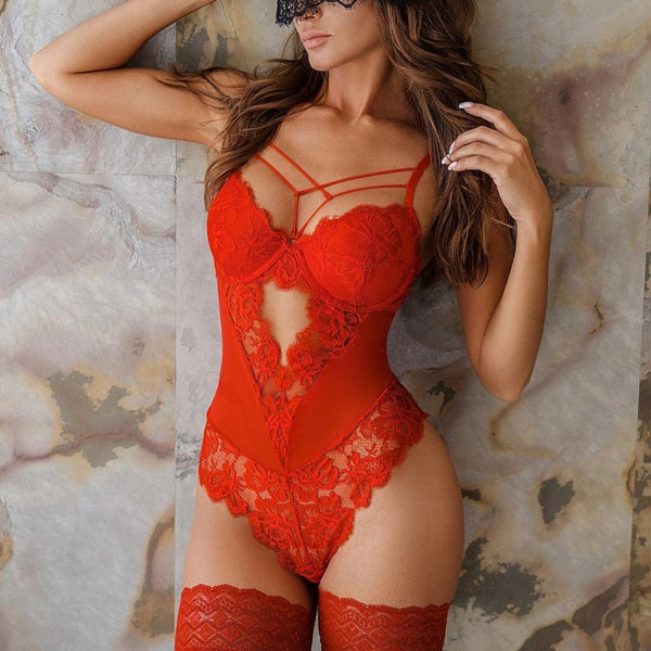 Women's Sexy Lace Bodysuit Romper Lingerie Set Underwear + Stockings
