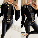 Black Jumper Shirt PU Leather Women' s Top Golden Buttons for Spring Autumn & Winter