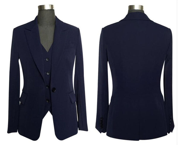 Women's 3 Pieces Set Blazer Suit with Pants & Vest for Summer