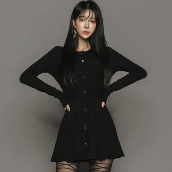 Winter Black A-Line Knitting Cloth Women Single Breasted Long Sleeved Mini Sweater Cardigan Dress