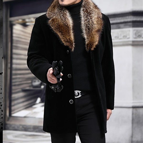 Winter Men's Long Woolen Coat Furry Collar Warm Windbreaker Jacket