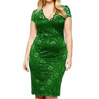 Wipalo Plus Size Women V Neck Elegant Lace Dress Summer Sexy Crochet Hollow Out Evening Sheath Bodycon Vestidos Dress Female 5XL