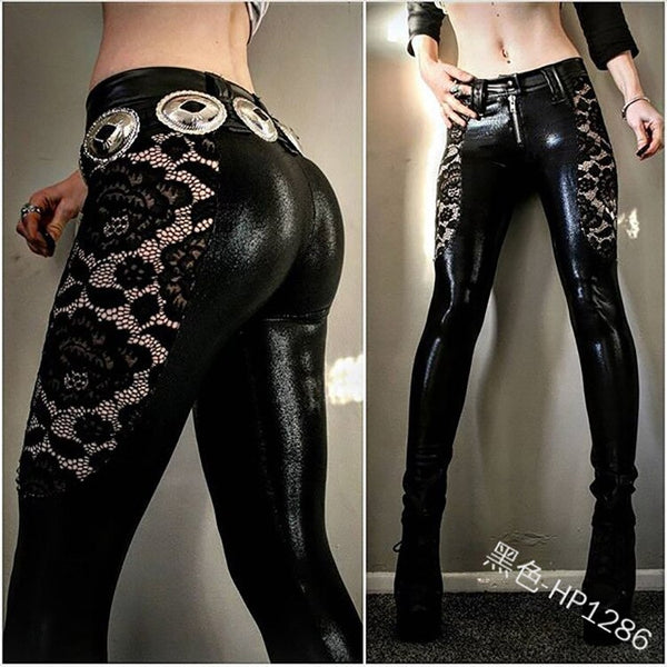Trousers For Women Fishnet Insert Lace Up PU Leather Pencil Pants