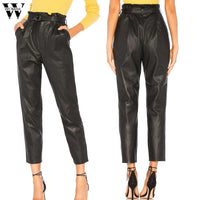 Womail Pants Women's Leather Long Pants Pocket Ladies High Waisted Leather Sexy Club Skinny Stretch Pencil Fashion 2019 M2