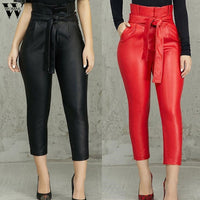 Womail Pants Women's Leather Long Pants Tights High Waist Leather Trousers Sexy Skinny Pants Stretch Pencil Fashion2019 M2