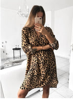 Women Autumn Sexy Leopard Snake Print Striped Long Sleeve V-Neck Dress Ladies Casual Empire Mini Dresses Above Knee Length