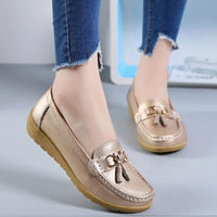 Women Ballet Shoes Flats Cut Out Leather Breathbale Moccains Women Boat Shoes Ballerina Ladies Shoes