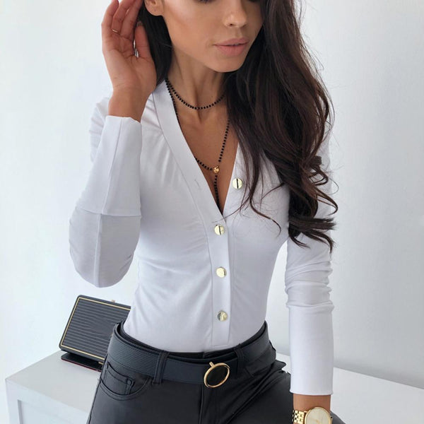 Women's Shirt Bodysuits Fashion Long Sleeves Shirt V neck Sexy Bodysuit
