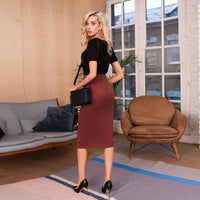 Women Casual Sashes High Elasticity Skirt Ladies High Waist Sexy Split Skirt 2019 Autumn Winter New Fashion Solid Mid Skirt