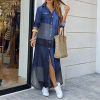 Women Elegant Long Maxi Dress Long Sleeves Button Down Spring Summer Loose Dress
