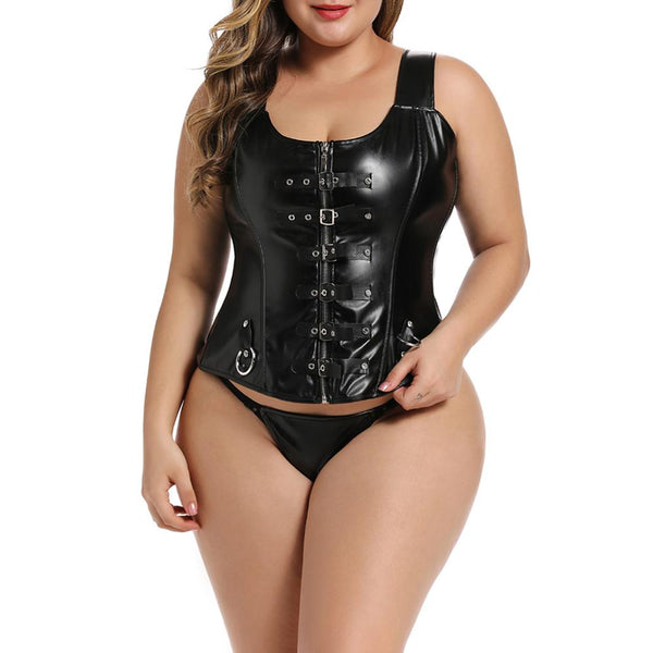 Women Fashion Corset Lace Up Buckle Zipper Leather Tank Top + Panties