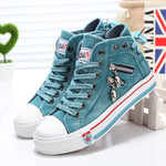 Women Fashion Sneakers Denim Canvas Shoes Spring/Autumn Casual Shoes Trainers Walking Skateboard Lace-up Shoes Femmes