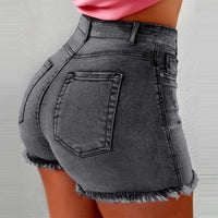 Women High Waist Denim Shorts Ripped Hole Bodycon Short Feminino Summer Shorts Jeans With Tassel