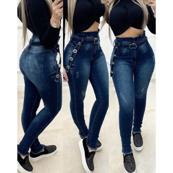 Women High Waist Jeans Denim Pants Trousers Streetwear Sexy Trousers with Belts