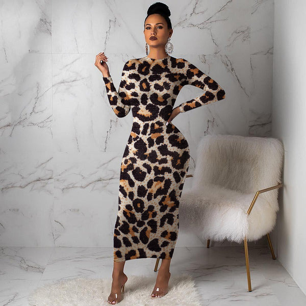 Women's Leopard Long Sleeve evening party Dress Autumn Winter