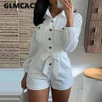 Women's Long Sleeves Bodysuit Button Down Rompers