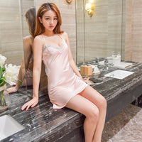 Women Nightgowns Sexy Lace Satin Sleepwear Nightdress Home Wear Summer Sexy Backless Sleep Lounge Night Dress Silk Nightwear