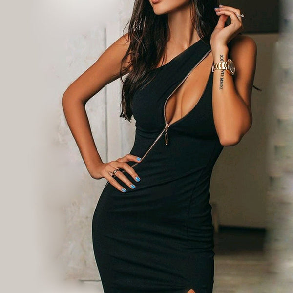 Women Sleeveless Front Zip Up Dress Hollow Out Sexy Split Bodycon Dress for Summer