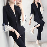 Women Pant Suits female summer New High end female British style stripe Blazers top + wide leg pants Two-piece suit women