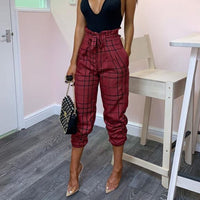 Women Pants Casual Bow Bandage High Waist Harem Pants Plaid Long Pants Trousers Women Clothes Drawstring
