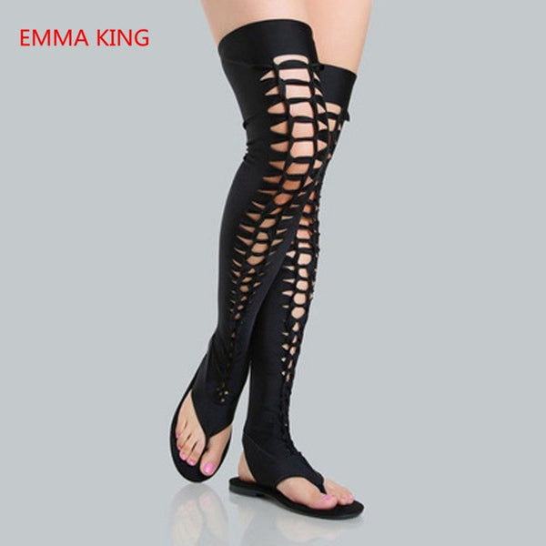 Women Roman Gladiator Sandals Leather Hollow Flats Sandals Sexy Dancing Party Shoes Woman Black Cut Outs Over The Knee Boots