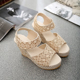 Women Sandals 2018 New Summer Fashion Lace Hollow Gladiator Wedges Shoes Woman Slides Peep Toe Hook & Loop Solid Lady Casual