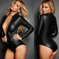 Women Sexy Black Bodycon Bodysuit Zipper PU Leather Jumpsuit Ladies Slim Long Sleeves Bodysuits Rompers Body Mujer Plus Size 4XL