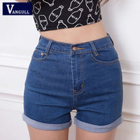 Women Sexy Ripped Denim Shorts Ladies'Casual Mid Waist Cuff Jeans Shorts Summer Spring Autumn Plus Size Shorts