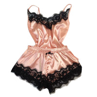 Women Sleepwear Sleeveless Strap Nightwear Lace Trim Satin Cami Top Pajama Sets Sexy Lingerie Intimate Ladies pijama mujer 2019