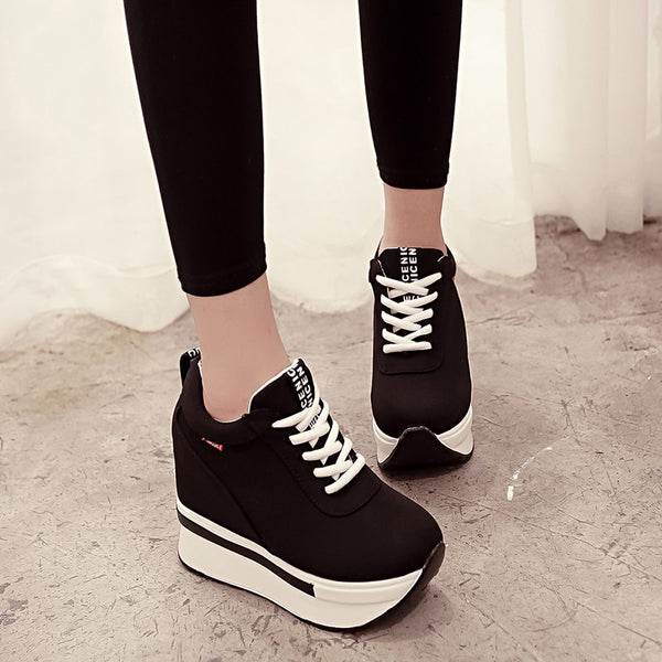 Women Sneakers Fashion Women Height Increasing Breathable Lace-Up Wedges Sneakers Platform Shoes Canvas Woman Casual Shoes AC-07