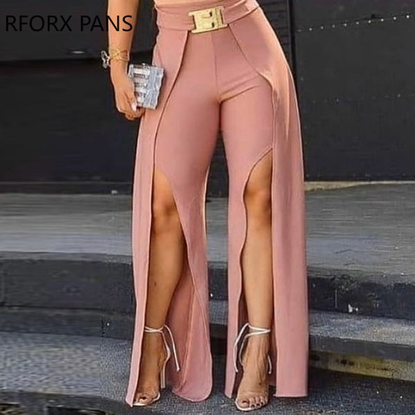 Women's Solid Long Slit Pink Pants Trousers With Belt Sexy Fashion