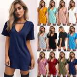 Women Summer T-Shirt 2019 Casual Loose Short Sleeve TShirts Sexy V-Neck Cotton Tee Shirt Femme Ladies Long Tops Plus Size 3XL