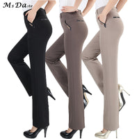Women Trousers straight pants high waist casual female pantalon femme calca feminina khaki beige red blue big plus size 28~38